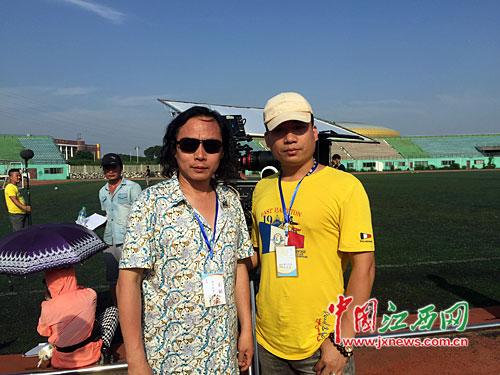 导演三刚(左)和制片人朱文华