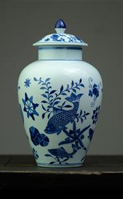 长窑制器 手工手绘青花鱼藻纹将军罐